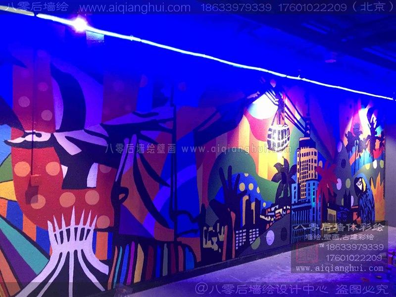 北京酒吧音乐餐厅涂鸦手绘墙—约启音乐餐厅墙