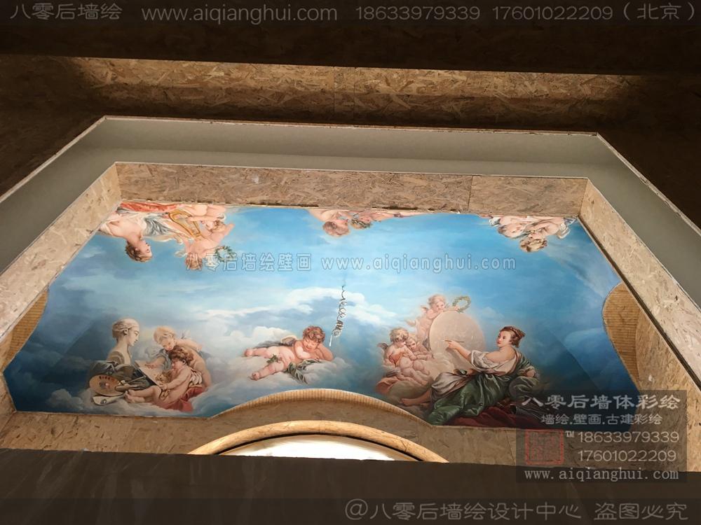 北京别墅天顶壁画—某别